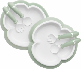 BabyBjorn Baby Plate, Spoon and Fork, 2 sets - Powder Green