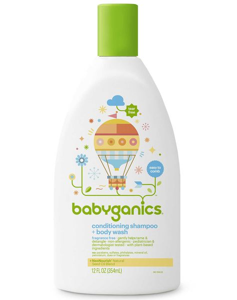 BabyGanics Conditioning Shampoo + Bodywash, 12oz - Fragrance Free