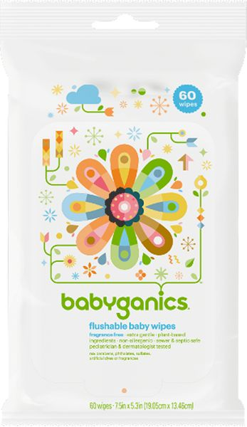 BabyGanics Flushable Wipes, 60ct. Fragrance Free