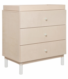 Babyletto Gelato 3-Drawer Changer Dresser, White Color Feet w/Removable Changing Tray In Washed Natural
