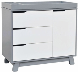 Babyletto Hudson 3-Drawer Changer Dresser, KD w/Removable Changing Tray in Grey/White