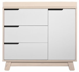 Babyletto Hudson 3-Drawer Changer Dresser, KD w/Removable Changing Tray in Washed Natural/White