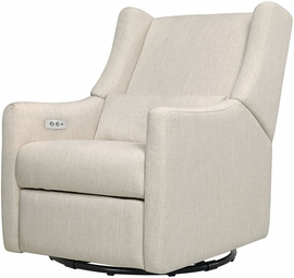 BabyLetto Kiwi Electronic Recliner & Swivel Glider - White Linen