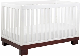 Babyletto Modo 3-in-1 Convertible Crib with Toddler Bed Conversion Kit in Espresso/White