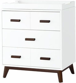 Babyletto Scoot 3-Drawer Changer Dresser - White/Walnut Finish