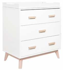 Babyletto Scoot 3-Drawer Changer Dresser - White/Washed Natural Finish