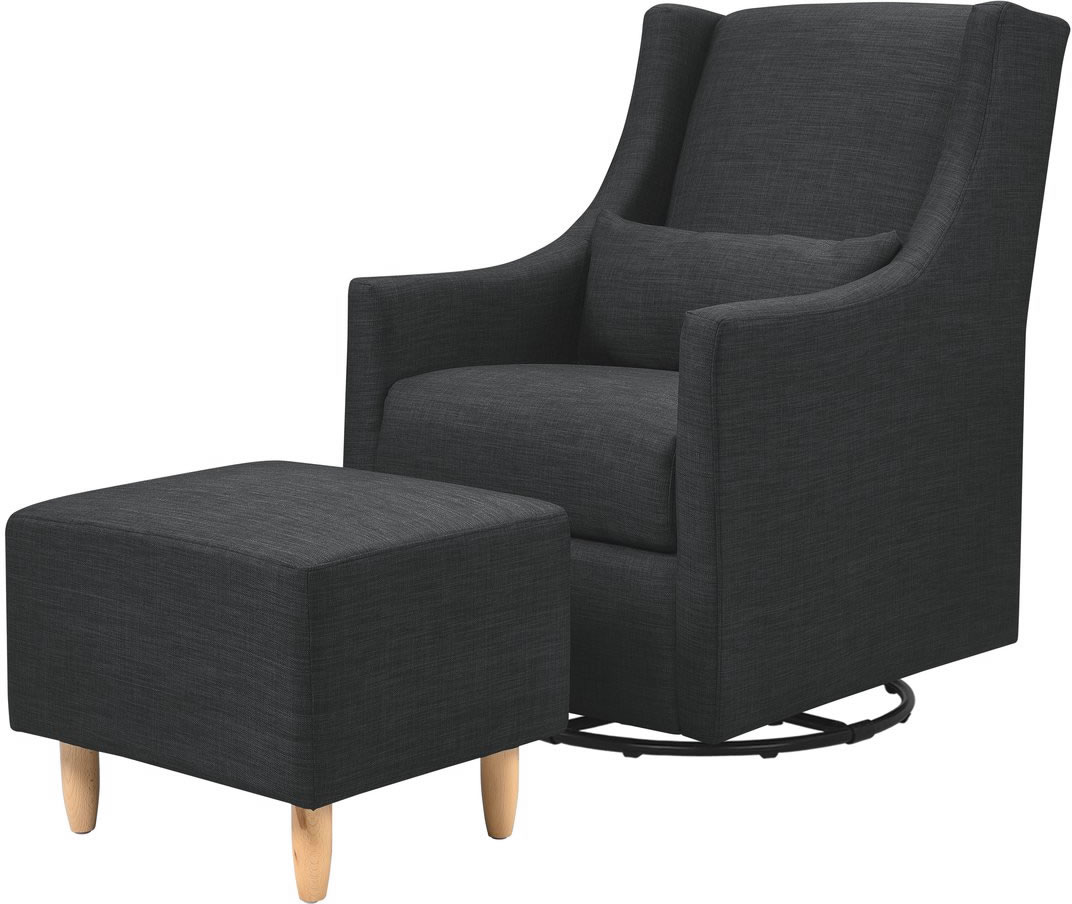 lowest price 2d742 00599 BabyLetto Toco Swivel Glider & Ottoman - Coal Grey