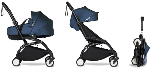 Babyzen YOYO2 Ultra Compact Complete 6+ Stroller with Bassinet - Black/Air France Blue