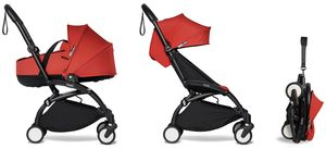 Babyzen YOYO2 Ultra Compact Complete 6+ Stroller with Bassinet - Black/Red