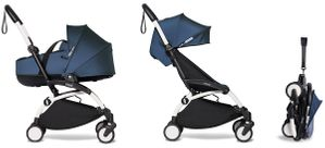 Babyzen YOYO2 Ultra Compact Complete 6+ Stroller with Bassinet Bundle - White/Air France Blue