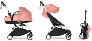 Babyzen YOYO2 Ultra Compact Complete 6+ Stroller with Bassinet Bundle - White/Ginger