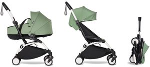 Babyzen YOYO2 Ultra Compact Complete 6+ Stroller with Bassinet Bundle - White/Peppermint