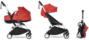 Babyzen YOYO2 Ultra Compact Complete 6+ Stroller with Bassinet Bundle - White/Red