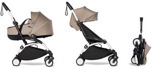 Babyzen YOYO2 Ultra Compact Complete 6+ Stroller with Bassinet Bundle - White/Taupe