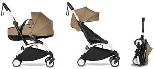 Babyzen YOYO2 Ultra Compact Complete 6+ Stroller with Bassinet Bundle - White/Toffee
