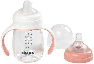 Beaba 2-in-1 Bottle To Sippy Learning Cup - Rose