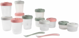 Beaba Baby Food Clip Containers Set of 12 + Spoons - Eucalyptus