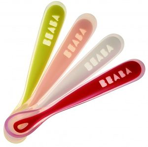 Beaba First Stage Silicone Spoons Set Of 4 - Neon