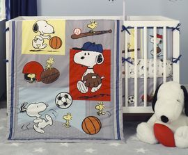 Bedtime Originals Snoopy Sports 3 Piece Crib Bedding Set