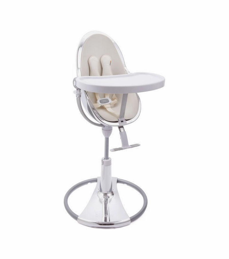 Stupendous Bloom Fresco Chrome High Chair Silver Frame Coconut White Seat Pad Leatherette Creativecarmelina Interior Chair Design Creativecarmelinacom