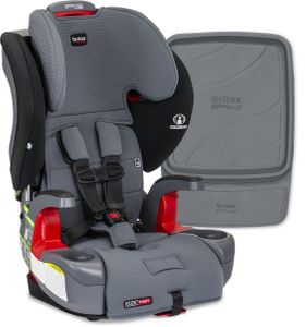 Britax Grow With You ClickTight Harness Booster Car Seat + Vehicle Seat Protector - Otto SafeWash (Albee Exclusive)