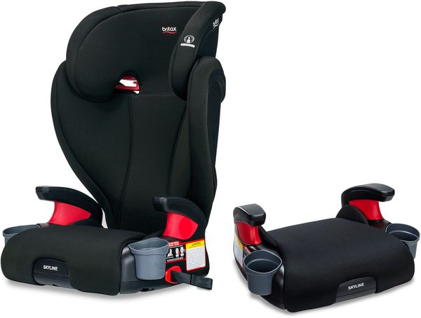 Britax Skyline 2-Stage High Back Belt Positioning Booster Car Seat - Highback and Backless - 2 Layer Impact Protection - 40 to 120 Pounds - Dusk