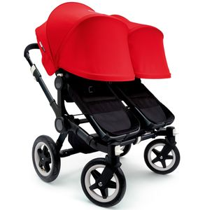 Bugaboo 2016/2017 Donkey Twin Stroller - All Black/Red