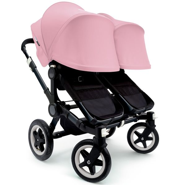 Bugaboo 2016/2017 Donkey Twin Stroller - All Black/Soft Pink