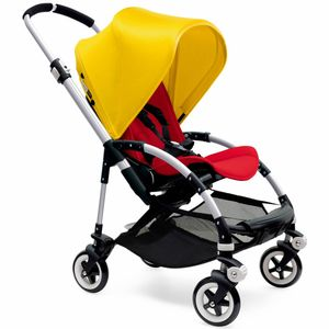 Bugaboo Bee3 Stroller, Silver - Red/Bright Yellow