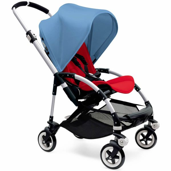 Bugaboo Bee3 Stroller, Silver - Red/Ice Blue