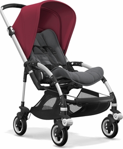 Bugaboo Bee5 Complete Stroller - Aluminum/Grey Melange/Ruby Red