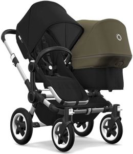 Bugaboo Donkey 2 Duo Complete Stroller - Aluminum/Black/Black/Olive Green
