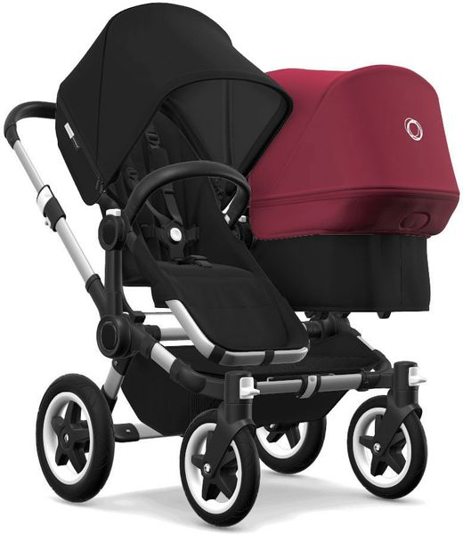 Bugaboo Donkey 2 Duo Complete Stroller - Aluminum/Black/Black/Ruby Red
