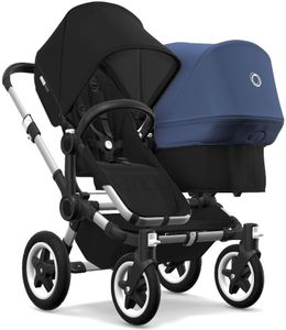 Bugaboo Donkey 2 Duo Complete Stroller - Aluminum/Black/Black/Sky Blue