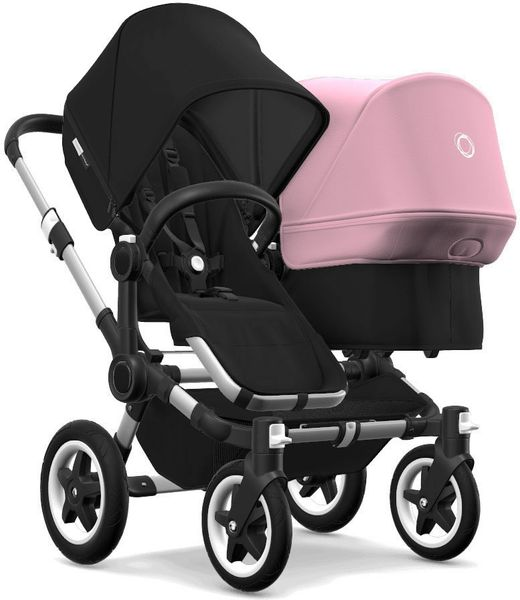Bugaboo Donkey 2 Duo Complete Stroller - Aluminum/Black/Black/Soft Pink