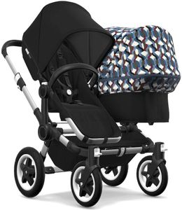 Bugaboo Donkey 2 Duo Complete Stroller - Aluminum/Black/Black/Waves