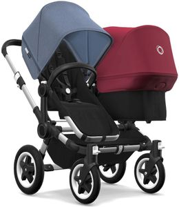 Bugaboo Donkey 2 Duo Complete Stroller - Aluminum/Black/Blue Melange/Ruby Red