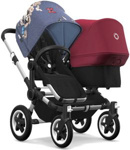 Bugaboo Donkey 2 Duo Complete Stroller - Aluminum/Black/Botanic/Ruby Red