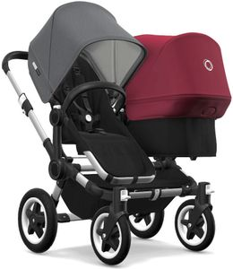 Bugaboo Donkey 2 Duo Complete Stroller - Aluminum/Black/Grey Melange/Ruby Red