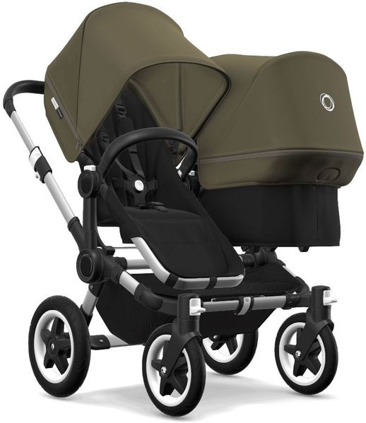 Bugaboo Donkey 2 Duo Complete Stroller - Aluminum/Black/Olive Green/Olive Green
