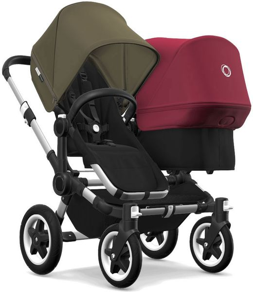 Bugaboo Donkey 2 Duo Complete Stroller - Aluminum/Black/Olive Green/Ruby Red