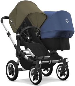 Bugaboo Donkey 2 Duo Complete Stroller - Aluminum/Black/Olive Green/Sky Blue