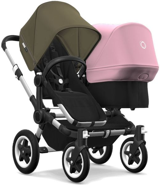 Bugaboo Donkey 2 Duo Complete Stroller - Aluminum/Black/Olive Green/Soft Pink