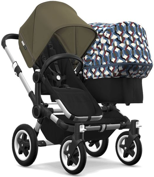 Bugaboo Donkey 2 Duo Complete Stroller - Aluminum/Black/Olive Green/Waves