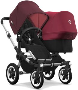 Bugaboo Donkey 2 Duo Complete Stroller - Aluminum/Black/Red Melange/Ruby Red