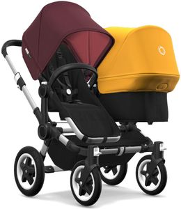 Bugaboo Donkey 2 Duo Complete Stroller - Aluminum/Black/Red Melange/Sunrise Yellow
