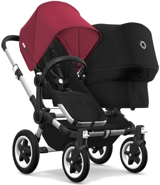 Bugaboo Donkey 2 Duo Complete Stroller - Aluminum/Black/Ruby Red/Black
