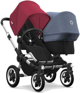 Bugaboo Donkey 2 Duo Complete Stroller - Aluminum/Black/Ruby Red/Blue Melange