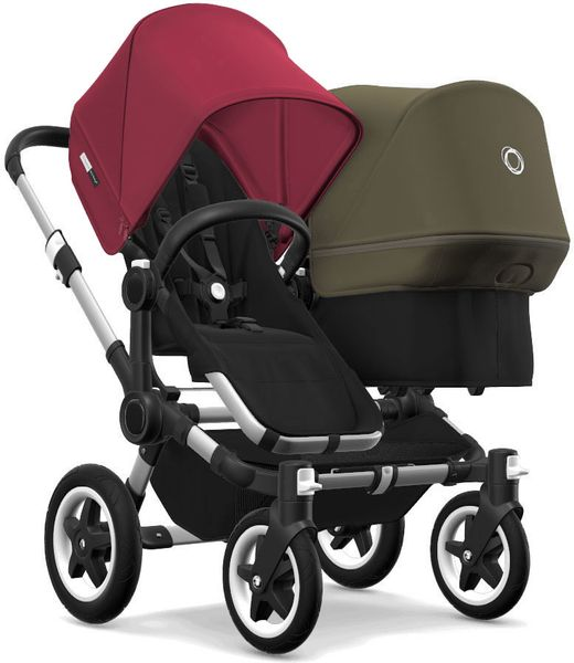 Bugaboo Donkey 2 Duo Complete Stroller - Aluminum/Black/Ruby Red/Olive Green