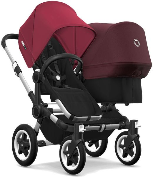 Bugaboo Donkey 2 Duo Complete Stroller - Aluminum/Black/Ruby Red/Red Melange